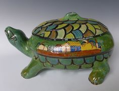 "Old vintage Mexican Tlaquepaque Tonala turtle casserole 13 3/4"" long x 9"" tall"
