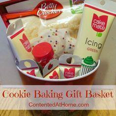 Cookie Baking Gift Basket. Good idea-poor execution. Diy Gift Baskets, Cookie Gift Baskets, Raffle Baskets, Homemade Gift Baskets, Themed Gift Baskets, Cute Gifts, Diy Gifts, Homemade Gifts, Craft Gifts