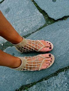 tan cutout sandals