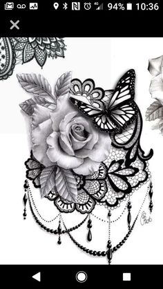 Top leaf by rose change into pot leaf, butterfly colored blue butterfly in the c. - Top leaf by rose change into pot leaf, butterfly colored blue butterfly in the c… - Rose Tattoos, Body Art Tattoos, New Tattoos, Sleeve Tattoos, Tattoos For Guys, Tattoos For Women, Female Tattoos, Lace Flower Tattoos, Lace Butterfly Tattoo