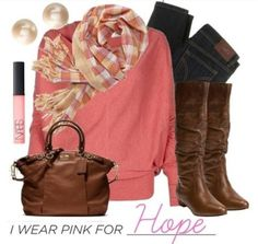 pink cardigan with brown   sweater pink jeans denim scarf stripes stripe solid fall boots brown ...