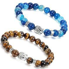 4PCS Handmade Tiger Eye Stein Malachit Achat Buddha 8mm Perlen Paar Armband