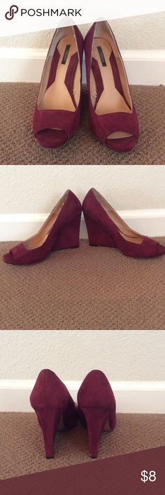 Wedge heels Beauty burgundy red wedge heels. Worn a handful of times, no major signs of wear except for back right heel has a small scuff. Size 8.5. Forever 21 Shoes