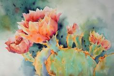 Red Pricklies by Yvonne Joyner Watercolor ~ 20 in. including mat x 26 in including mat