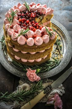 Rhubarb Cake with Pomegranate & Rosemary Buttercream.