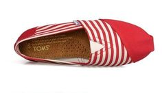 fresh and ready for your feet,TOMS shoes,god...SAVE 68% OFF! this is the best!   See more about red stripes, canvas shoes and tom shoes.