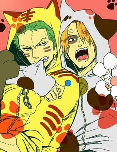 Meowwwwww! - Sanji and Zoro as nekos. I don't ship them, but I really like the picture