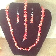 Red coral stone set Red coral jewelry set Jewelry
