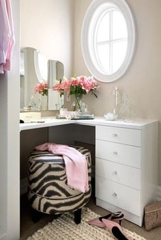 DIY makeup vanity for master bath corner.. cute idea, but would switch the zebra stool for a different fabric pattern