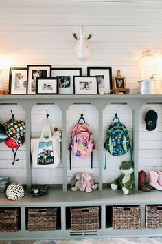 80 Modern Farmhouse Mudroom Entryway Ideas - Decorating Ideas - Home Decor Ideas and Tips Creating An Entryway, Mudroom Laundry Room, Mudroom Cubbies, Garage Mudrooms, Laundry Cabinets, Home Organization, Backpack Organization, Organizing Ideas, Home Projects