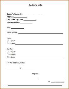 Printable Fake Doctors Notes Free Doctors Note Template Doctors Note Dr Note For Work