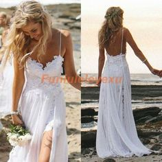 Sexy Spaghetti Backless V Neck Lace Bridal Gown 2016 Beach Wedding Dresses Stock