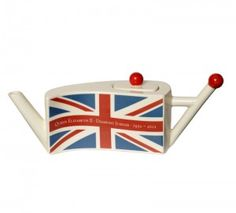Tony Carter's Diamond Jubilee Flag Teapot  celebrating Queen Elizabeth II's Diamond Jubilee, the 60th anniversary of her accession to the throne (1952-2012) ... Union Jack design on wavy body reminiscent of a flag, Carters Ceramics, 2012, ceramic, UK