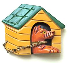 Doghouse and dog - don't like the chain on the pup