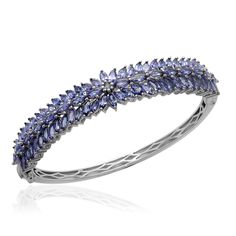 Liquidation Channel | Tanzanite Bangle in Platinum Overlay Sterling Silver (Nickel Free)