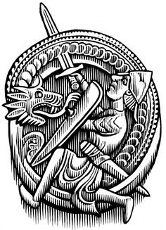 Legend of Sigurd and Gudrun illustration Dragon Killing