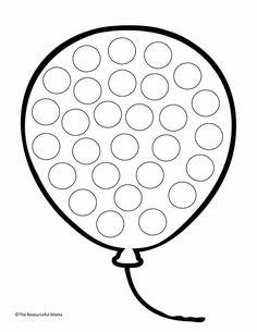 Ballon Preschool Art Activities, Preschool Worksheets, Preschool Activities, Kindergarten Coloring Pages, Coloring Pages For Kids, Toddler Learning, Teaching Kids, Do A Dot, Toddler School
