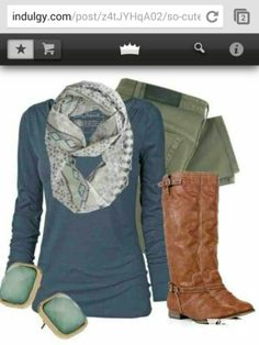 Long sleeved blue t, sage green jeans, brown boots, patterned scarf, and jade posts