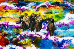The Four Horsemen. A print from the Ultra World 1 Painting. 12.5 x 13.5 inches Contact. jasfalconer4u@gmail.com