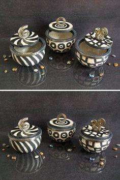 black and white jars ceramic raku boxes by FedericoBecchettiArt