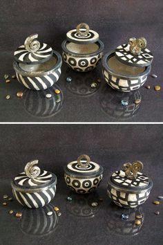 black and white jars ceramic raku boxes by FedericoBecchettiArt