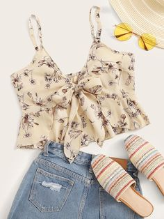 Shop Floral Print Tie Front Cami Top at ROMWE, discover more fashion styles online. Teen Fashion Outfits, Pop Fashion, Fashion News, Girl Outfits, Fashion Styles, Cute Summer Outfits, Cute Casual Outfits, Looks Chic, Two Piece Outfit
