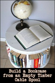 A recycled timber spool bookcase can also be used as a coffee table, end table, or display table... Is this going to be your next project?