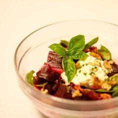 Beetroot, Pom, Basil and Walnut Salad
