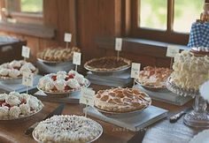 Wedding Pie Table! Id love this! Just desserts wedding reception