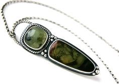 Reserved - Ode to Nature - Morrisonite Jasper and Prehnite Sterling Silver Necklace