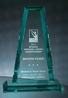 """This Beveled Jade Crystal """"Spire"""" Tower award is a striking symbol of achievement. Etching adds depth to the hand-cut beveled edges and soft green highlights of each elegant jade crystal piece. This award offers ample room for logo and message. SDTA provides free engraving with this award."""