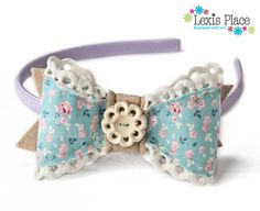 Tea Party Bow Hairband by LexisPlaceUK on Etsy, £18.99