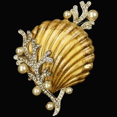 Enamel sea shell with pave and pearl seaweed brooch by Alfred Philippe for Trifari, late 1930s.