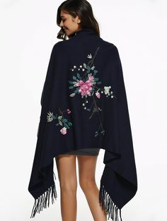 Flower Embroidery Fringed Cape ==