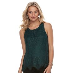 Juniors' Trixxi Scalloped Lace Tank, Teens, Size: Medium, Med Green