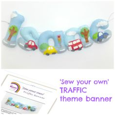 Sew your own TRAFFIC felt name banner kit PER LETTER (incl stuffing) - The Supermums Craft Fair