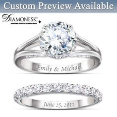 Diamonesk Bridal Ring Set With Engraved Names And Date.