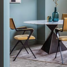 34 Stunning Contemporary Dining Chairs Design Ideas - Who would have thought that picking out a contemporary dining chair could be so complicated? Well, really it is not but it helps to have some tips on . Dining Table Design, Modern Dining Chairs, A Table, Dining Tables, Dining Rooms, Modern Table, Contemporary Dining Chairs, Contemporary Furniture, Large Round Dining Table