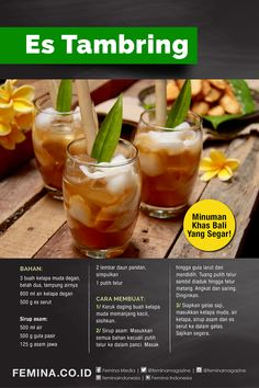 Non Alcoholic Drinks, Beverages, Kitchen Recipes, Cooking Recipes, Indonesian Food, Easy Food To Make, Diy Food, Yummy Drinks, Catering
