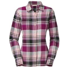 The North Face Women's 'Pomeria' Plaid Flannel Shirt ($57) ❤ liked on Polyvore featuring tops, shirts, blusas, lullabies, plaid, ballet pink, roll top, pink plaid shirt, flannel shirts and purple plaid shirt