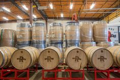 Barrels at Ironroot Republic Distillery in Denison, Texas. Ironroot is just one of many craft distilleries popping up across the state Distillery, Brewery, Gin Tour, Garrison Brothers, Denison Texas, Whiskey Tour, Texas Tour, Brew Pub, Texas Travel