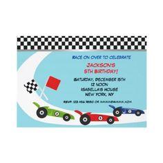Race Car Birthday Invitations