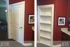 Customer Highlight: The Newberrys Create Sheer Beauty With Our… Before and After Installation of The Murphy Door by a Customer Hidden Spaces, Hidden Rooms, Bedroom Door Decorations, Murphy Door, Bookshelf Door, Interior Design Games, Secret Rooms, Home Upgrades, Bedroom Doors
