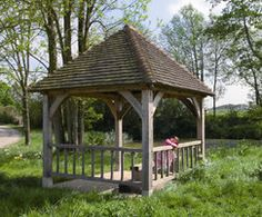 Solid Oak Garden Gazebo With A Cedar Shingle Roof 200mm X