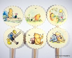 Winnie the Pooh Cupcake Toppers, Baby Shower, Birthday Party, Set of 12  ♥ RIBBONS CHOICES: WITH RIBBONS or WITHOUT RIBBONS (tied below each