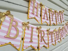 Stripe Pink and Gold Birthday Banner, Pink and Gold Birthday Banner, Glitter Birthday Banner, Birthday Decor, Pink and Gold Birthday Party by SugaryDreamShoppe on Etsy https://www.etsy.com/listing/259838225/stripe-pink-and-gold-birthday-banner