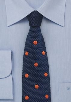 Navy Blue and Orange Silk Knit Polka Dot Tie - Get funky this with this navy blue, and orange silk knit polka dot tie. The bright orange polka dots really jump on the dark blu Polka Dot Tie, Polka Dot Fabric, Tie Styles, Types Of Fashion Styles, Business Casual Looks For Men, Blue Bow, Navy Blue, Blue Ties, Orange Tie