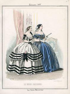Evening dresses, Feb 1855 US, Peterson's Magazine