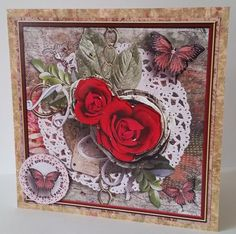 Cardtopper Singlesheet Red Roses 103 on Craftsuprint designed by Gertraud Lueckel - made by Mary Brunton - The image was printed on satin photo paper. A 7 x 7 inch card was covered with a complimentary paper using dst. The main image was attached to the card using dst. The decoupage elements were added using glue gel. The sentiment was added using 1mm foam tape. - Now available for download!