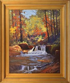 "Autumn Forest Falls by Ken Daggett 30"" x 24"" oil Meyer Gallery"